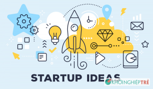 Vector illustration of rocket light bulb cloud and icons. Startup ideas concept on blue background with title. Thin line art flat style design for web site startup b